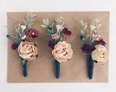 Burgundy Fall boutonniere, Navy Button hole, Groomsman boutonniere, Fall wedding, Woodland wedding,Rustic wedding
