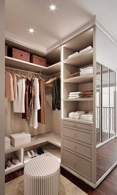 6 Tips to Create a Luxury Walk in Closet Walk In Closet Design, Bedroom Closet Design, Room Ideas Bedroom, Home Room Design, Closet Designs, Home Decor Bedroom, Wardrobe Room, Dressing Room Design, Closet Layout