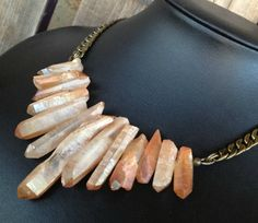 Bohemian Crystal Points Necklace in Peach and Bronze. A gorgeous piece for any bride or her bridesmaids.  by CombustionGlassworks, $69.50