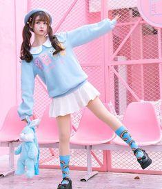 Harajuku lolita teddy bear sweater - pastelloves - - Color : blueMaterial: CottonSize: S, MS: Length bust: sleeve length: Length Bust: Sleeve Length: Harajuku Girls, Harajuku Fashion, Lolita Fashion, Cute Korean Girl, Cute Asian Girls, Cute Girls, Pastel Fashion, Cute Fashion, Asian Fashion