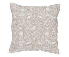 Cuscino arredo in cotone e lino Alambra marrone/bianco, 45x45x5 cm