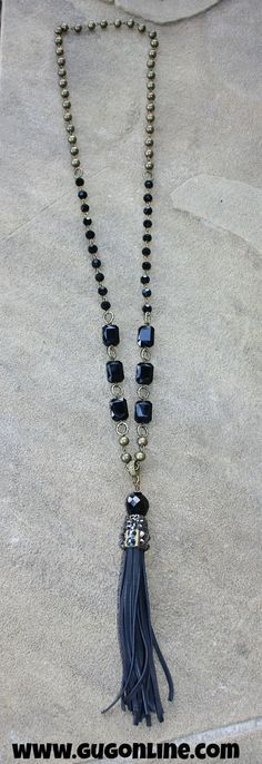 Save 10% using the code GUGREPKCAR at checkout! Pink Panache Long Black Crystal Beaded Tassel Necklace www.gugonline.com