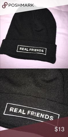 Real Friends Beanie Black Real Friends beanie. Never worn, bought when they were on tour with The Maine & Knuckle Puck. Originally $25. Willing to bundle w/ RF shirt & crewneck for $65 total. Hot Topic Accessories Hats