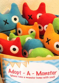 """DIY Monster Stuffies!  A basket of these with the Seseme Street story """"THERE'E A MONSTER AT THE END OF THIS BOOK""""  to read to the class should work for a Headstart visit by MOM (me).  The kids could take them home afterward,  My Aunt A taught me to make denim stuffies years ago."""