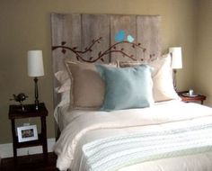 I love this idea for a headboard. Perfect with our bedroom colors.