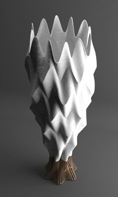 printed vase in resin and bronce. The pieces are put together after printing. Form Design, 3d Design, Impression 3d, 3d Printed Objects, 3d Cnc, Parametric Design, Digital Fabrication, 3d Laser, 3d Prints