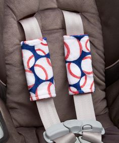 Lolly Gags Red & Navy Baseball Reversible Car Seat Strap Cover - Set of Two by Lolly Gags #zulily #zulilyfinds