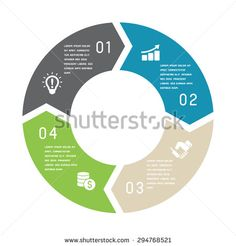 Vector circle arrows for infographic. Template for cycling diagram, graph, presentation and round chart. Business concept with 4options, parts, steps or processes.  - stock vector