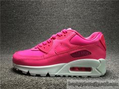 Women's NIKE Air Max 90 Running Shoes Pink Leather Breathable Authentic 724852 600