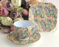 Vintage trio, Shelley Summer Glory pattern, chintz with flowers in feminine colours with dark cream background, 1345, 1938 - 1964 by CardCurios on Etsy