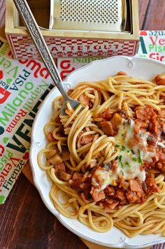 Villám ebédek: Milánói spagetti | Rupáner-konyha My Recipes, Pasta Recipes, Healthy Recipes, Creamy Chicken Pasta, Food Staples, Vegan, Easy Cooking, Food Photography, Easy Meals