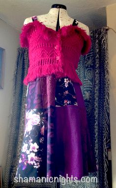 #patchwork CHERRY FLUZZIE #dress See shorter version on Shamanic Nights blog. Cerise Pink, Pink Acrylics, Recycled Fashion, Patchwork Dress, Colorful Party, Acrylic Wool, Wool Scarf, Silk Painting, Ethical Fashion