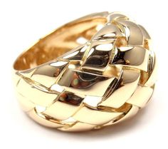 Van Cleef & Arpels VCA Basket Weave Yellow Gold Band Ring. Ca. 1991s