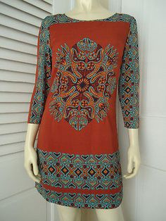 ALICE MOON COLLECTION Dress S NEW w/Tag Poly Knit Pullover Exposed Zip TRIBAL