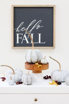 These DIY painted pumpkins look like cement and are easy to make using faux pumpkins, chalk paint and real stems.