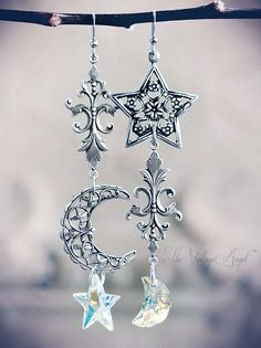 Moon and Stars  Asymmetrical Earrings -  Jessica Galbreth The Vintage Angel