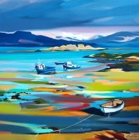 Sleeping Boats, Armadale, Skye by Pam Carter Abstract Landscape, Landscape Paintings, Glasgow School Of Art, Boat Painting, Online Painting, Beach Art, Art And Architecture, Painting Inspiration, Art Projects