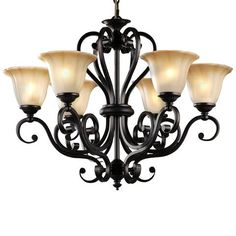 LNC Antique  Black Iron 6 Lights Rustic Chandelier Lighting Glass Shade D28-Inch by H22-Inch
