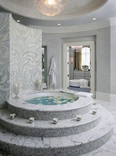 Luxurious drop in tub with stairs for great enjoyment