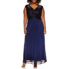 Melrose Sleeveless Beaded Lace Evening Gown-Plus - JCPenney