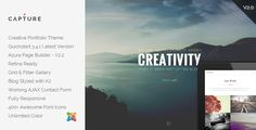 Capture - Creative Portfolio Joomla Template . Capture is an easy to use portfolio template with different sections and pages so you can show your work and sell your services in a creative way. It's a clean and fully responsive template for business and personal