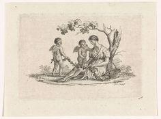 Pieter de Goeje | Vrouw en twee putti, Pieter de Goeje, 1789 - 1859 | Een vrouw zit tegen een boom geleund. Naast haar een mand. Samen met twee putti maakt ze een guirlande.
