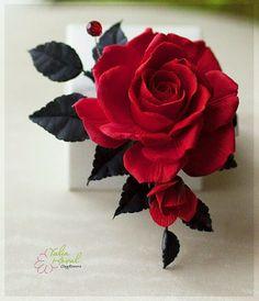Купить Зажим с Алой розой - алая роза, розы, полимерная глина, цветы из полимерной глины