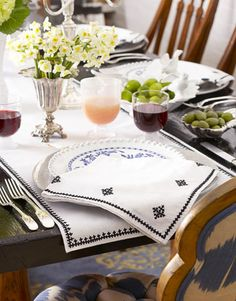 """""""Don't worry about rules. Just pull out a few of your favorite, most beautiful things,"""" says textile designer Madeline Weinrib, who designed this tablescape perfect for a spring brunch, featured in House Beautiful."""