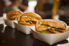 ROUND THE WAY BAGELS SAGANAKI BAGEL W/ KEFALOGRAVIERA CHEESE - CHAN CHAN BAGEL WITH CHICKEN BREAST MARINATED IN SPICED CUBAN RUM AND CUBAN SANDWICH STYLE BAGEL. #roundtheway #saganaki #kefalograviera #bagelburger #bagel #foodtruck #cuban #melbourne #ballarat #geelong