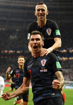 Mario Mandzukic of Croatia celebrates after scoring his team's second goal with Ivan Perisic during the 2018 FIFA World Cup Russia Semi Final match between England and Croatia at Luzhniki Stadium on July 2018 in Moscow, Russia. Soccer World Cup 2018, Fifa World Cup, Football Celebrations, Ivan Perisic, Football Team, Football Stuff, World Cup Russia 2018, Most Popular Sports, Semi Final