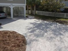 Pervious Driveway - Crushed Oyster Shell with Tabby Shell Paver Borders Concrete Driveways, Walkways, Gravel Driveway, Hardscape Design, Beach Landscape, Outdoor Entertaining, Oysters, Future House, New Homes