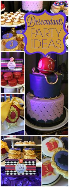 Here's a wickedly good Disney Descendant's party! See more party ideas at… 9th Birthday Parties, 10th Birthday, Birthday Fun, Birthday Ideas, Villains Party, Dessert Table Birthday, Disney Decendants, Festa Party, Disney Birthday