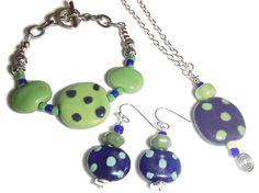 Kazuri Bead Set. Kazuri Green and Blue. Kazuri Necklace. Kazuri Bracelet. Kazuri Earrings by riversedgecreations. Explore more products on http://riversedgecreations.etsy.com