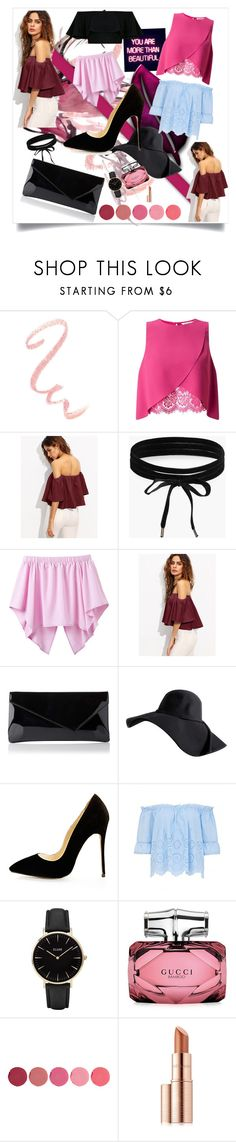 """Bez naslova #29"" by amiinaah ❤ liked on Polyvore featuring GALA, Miss Selfridge, Boohoo, CLUSE, Gucci, Kjaer Weis and Estée Lauder"
