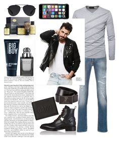 """""""Give 'Em the Boot"""" by chaoticangel79 on Polyvore featuring Dsquared2, Jacob Cohёn, Versace, Gucci, 21 Men, Neil Barrett, The Art of Shaving, Dolce&Gabbana, Bally and men's fashion"""