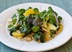 Quinoa salad with watercress, oranges, avocado, and almonds, with citrus vinaigrette from Serious Eats