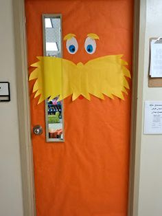 Seuss door--OK, so I probably won't use this, since I teach high school and all, but who doesn't love the Lorax? Classroom Door, Future Classroom, Classroom Ideas, Classroom Design, Birthday Wishes For Teacher, School Projects, School Ideas, Class Projects, The Lorax