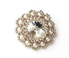 Brooch Beaded Swarovski Crystal Pearl Beaded by vantageJewellery