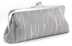 Would love this clutch for the wedding!   Silver Evening Bag Clutch - Gray Bridesmaid Handbag - Grey Embroidered Trees Metal Frame Purse