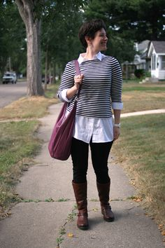 Already Pretty outfit featuring striped boatneck, white tunic, ponte pants, Frye Veronica Slouch, Hobo International bag