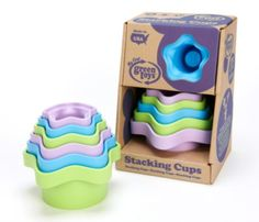 Stacking Cups: Six graduated cups, dozens of possibilities for bath and play time. Scoop and pour water, build towers by turning upside down, or just sort sizes to nest. The My First Green Toys