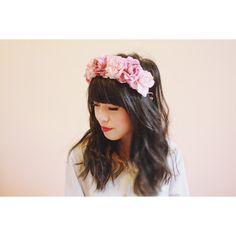 rose crown headband - pastel pink, flower crown, Lana del ray, santa... ($39) ❤ liked on Polyvore