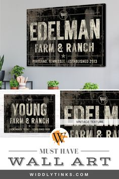 Farm & Ranch Cattle Family Name Established Sign Black - Widdlytinks Wall Art Rustic Wall Art, Unique Wall Decor, Rustic Walls, Wall Art Decor, Rustic Decor, Family Name Art, Family Name Signs, Family Name Established, Wedding Gifts For Newlyweds