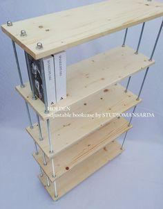 HOLDEN Scaffale/libreria modulare. Legno di abete trattato e acciaio ANTI RUGGINE- 5 ripiani regolabili