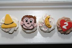 Curious george theme cupcakes i made for my daughters 2nd birthday