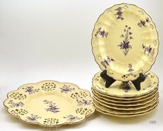 Antique 1780-1810 Staffordshire 9 pc Bowls & Tray Buff & Purple Flowers