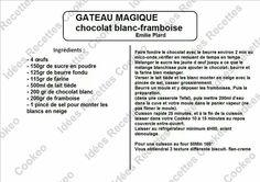 Gateau magique chocolat blanc framboise Desserts, Courses, Nutella, Images, Usb, Diet, Food, Hot Sauce, Raspberry