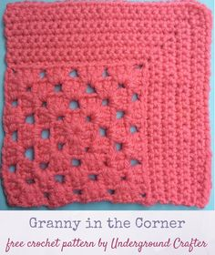 Crochet pattern: Granny in the Corner in Red Heart With Love yarn by Underground Crafter | This motif combines the traditional granny square with a mitered square to create an interesting combination of lace and solid spaces. This is one of several motifs