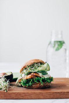 vegan tofu burgers w greens sandwiches Gourmet Sandwiches, Gourmet Burger, Gourmet Foods, Tofu Burger, Vegan Burgers, Vegetarian Recipes, Healthy Recipes, Chickpea Recipes, Keto Recipes