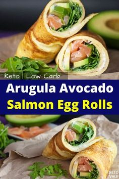 This low-carb arugula avocado salmon egg rolls recipe is very delicious, easy to prepare and works great as a breakfast, snack and even lunch. #ketoarugulasalmonegg #ketoavocadosalmoneggs #ketoeggrolls #ketosalmoneggrolls #ketoarugulaeggrolls #ketoavocadoeggrolls #ketobreakfastrolls #lowcarbbreakfastrolls #lowcarbeggrolls #lowcarbsalmoneggrolls   #ketobreakfast #ketobreakfastideas #ketobreakfastrecipes #lowcarbbreakfastideas #ketorecipes #lowcarbrecipes #ketovale Salmon Breakfast, Best Keto Breakfast, Breakfast Snacks, Breakfast Recipes, Breakfast Ideas, Egg Roll Recipes, Low Carb Recipes, Diet Recipes, Cream Recipes